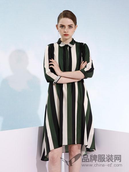 欧米媞女装2018春夏时尚修身竖条纹拼色连衣裙