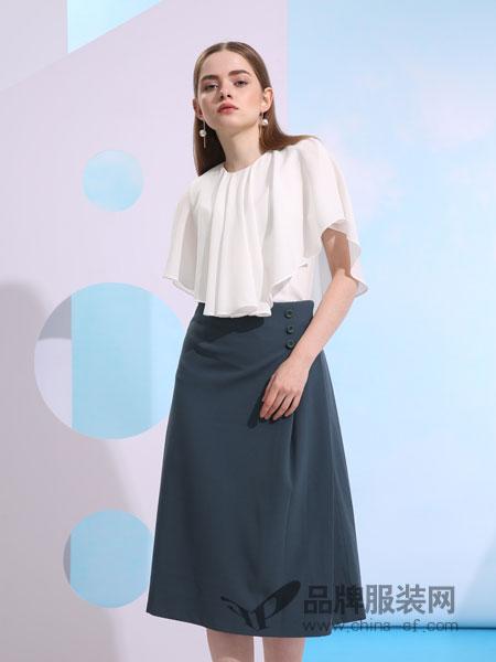 欧米媞女装2018春夏纯色波浪边白色上衣