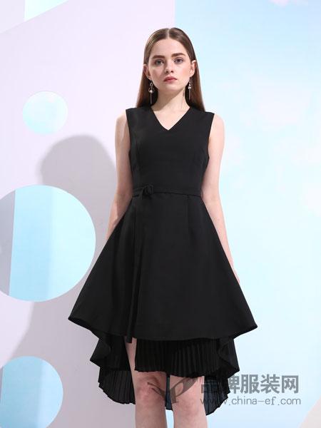 欧米媞女装2018春夏修身V领不规则连衣裙