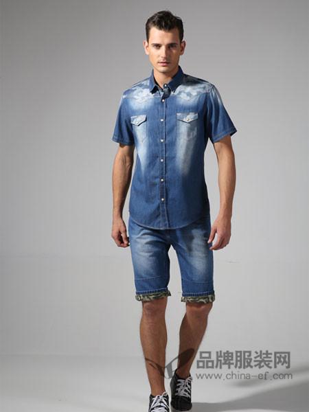 365+1牛仔韩版修身牛仔短袖男衬衫