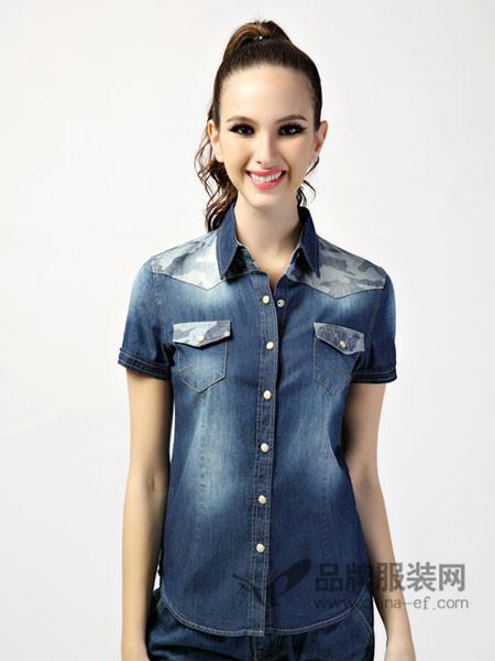 365+1牛仔衬衫新品夏薄短袖女士衬衣