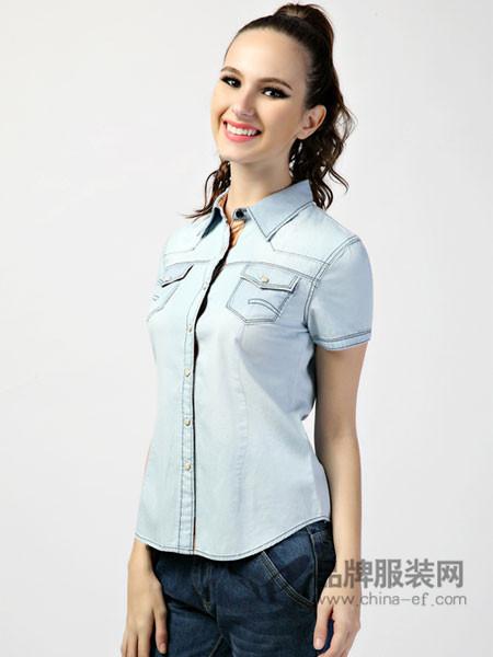 365+1牛仔韩版休闲水洗通勤牛仔纯棉短袖衬衫