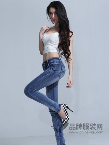 365+1牛仔脚裤铅笔裤休闲显瘦中高腰女牛仔长裤