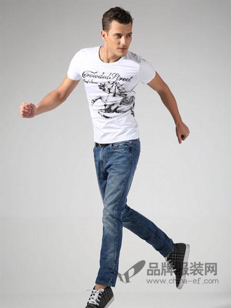 365+1牛仔韩版白色衣服夏季潮青年修身男体桖半袖打底衫