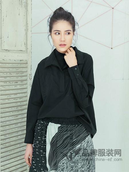 马可未Makee.vi女装2018春新品简约宽松双层领棉质刺绣长袖衬衫