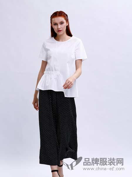 宝薇女装2018春夏纯色圆领不规则边短袖衬衫上衣