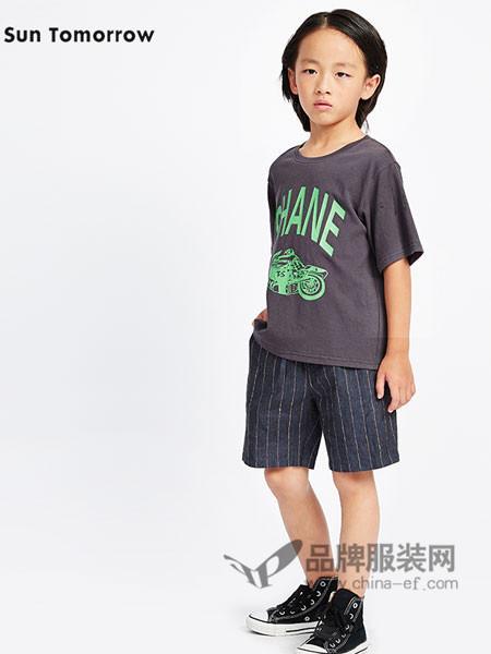 SUNTOMORROW尚T童装休闲时尚字母男T恤