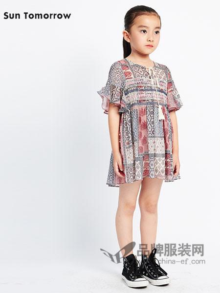 SUNTOMORROW尚T童装印花收腰连衣裙复古中国风长款棉麻裙