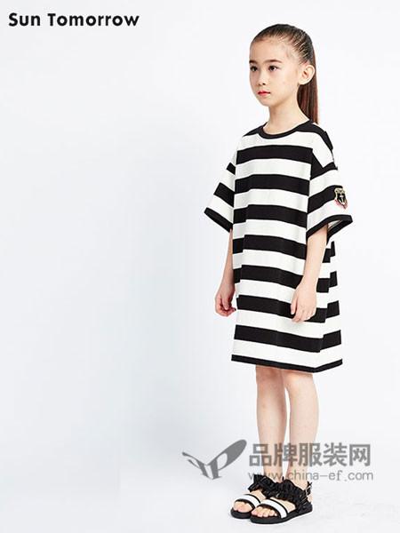SUNTOMORROW尚T童装时尚休闲条纹宽松女连衣裙