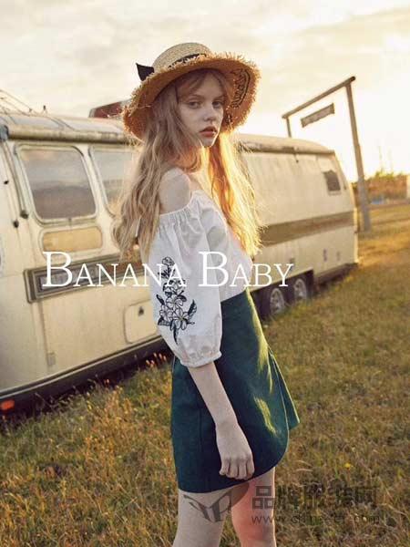 Banana Baby女装女装2018春夏荷叶袖花朵刺绣娃娃衫弹力一字领宽松短袖套头上衣女
