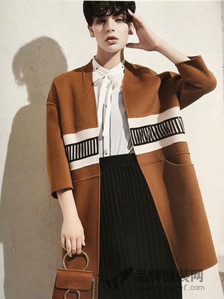 着品女装2017秋冬气质英伦羊毛呢外套淑女中长款过膝加厚修身呢子