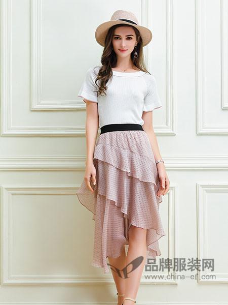 艾丽哲女装2018春夏织衫女套头短款修身短袖上衣一字领毛衣