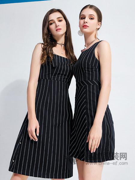 艾丽哲女装2018春夏欧美条纹系带无袖连衣裙