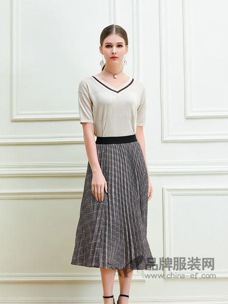 艾丽哲女装2018春夏金丝绒百褶裙高腰中长款半身裙