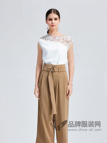 艾丽哲女装2018春夏系时尚褶皱腰带休闲裤