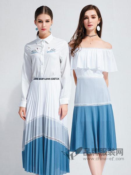 艾丽哲女装2018春夏性感时尚修身荷叶边一字领露肩拼接连衣裙