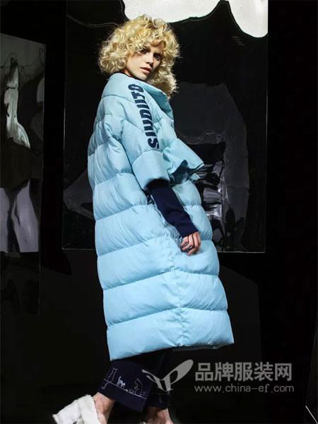 适度女装2017秋冬欧式七分袖中长保暖羽绒服