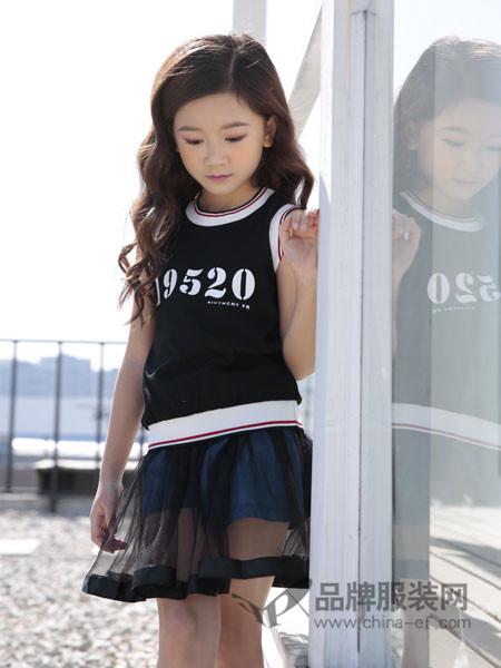 土巴兔童装2018春夏个性休闲字母网纱拼接连衣裙