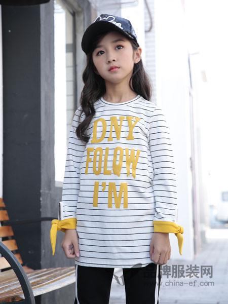土巴兔童装2018春夏时尚休闲字母条纹女上衣