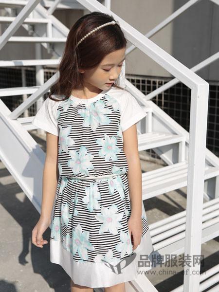 土巴兔童装2018春夏韩式系带印花条纹拼接女连衣裙