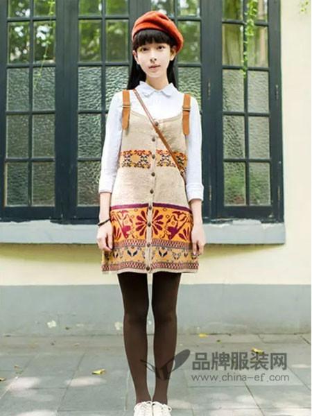 宾玛女装2017秋冬时尚休闲个性印花背带针织裙