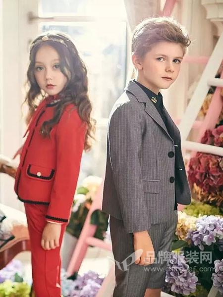 瑞比克童装2018春时尚帅气复古条纹男西装套装