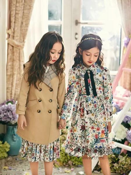瑞比克童装2018春时尚优雅中长碎花连衣裙