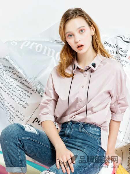 pit女装纯棉中袖衬衫女纯色打底衫泡泡袖上衣显瘦