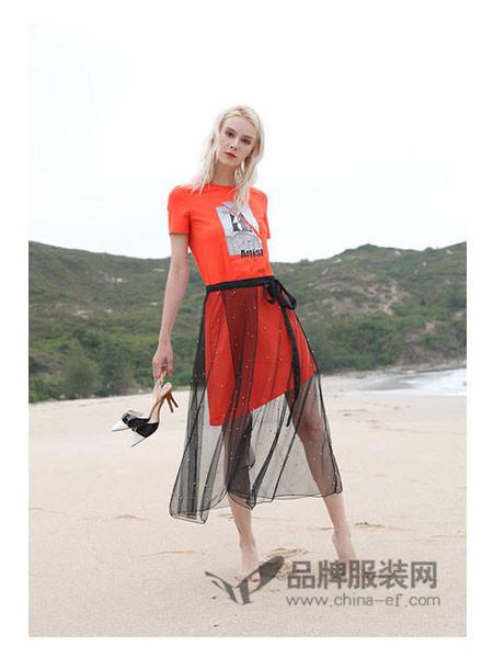 丹菲诗女装2018春夏韩版中长款T恤网纱半身裙透视裙