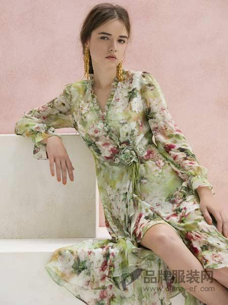 粉红玛莉 PinkMary女装2018春夏雪纺连衣裙碎花荷叶边裙海边度假仙女裙