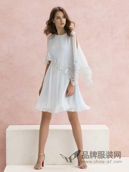 粉红玛莉 PinkMary女装2018春夏时尚收腰露肩中长款假两件连衣裙
