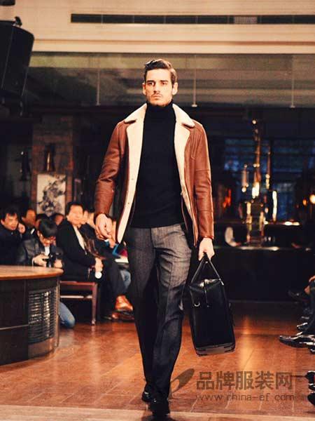 博格西尼BOGEASENI男装时尚修身加厚毛毛翻领皮衣外套