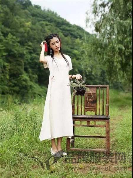山水帛女装棉麻时尚修身连衣裙长裙
