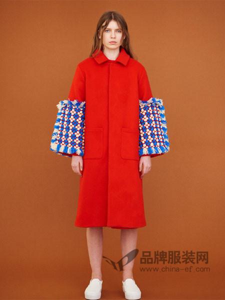 Museum of Friendship(MOF)女装时尚个性拼接袖中长呢子大衣