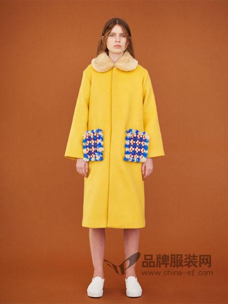 Museum of Friendship(MOF)女装优雅气质拼接口袋中长呢子大衣