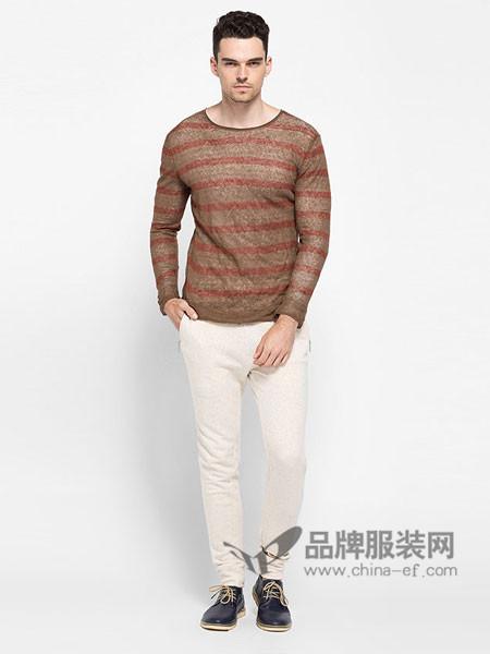 ADOLFO DOMINGUEZ男装时尚休闲条纹套头T恤