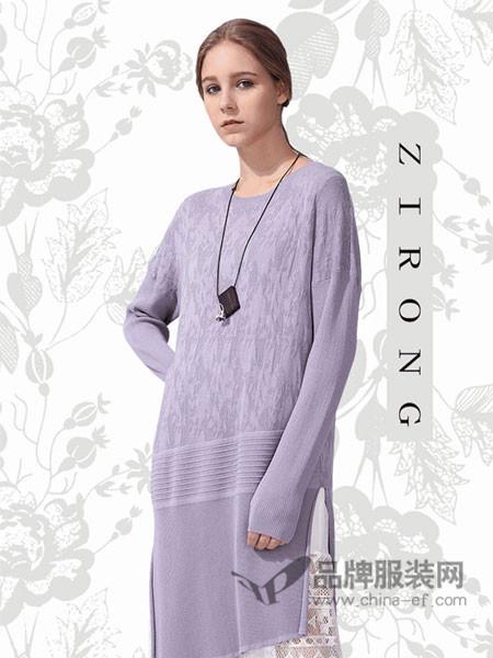 ZIRONG子容女装2018春时尚优雅中长蕾丝拼接针织上衣