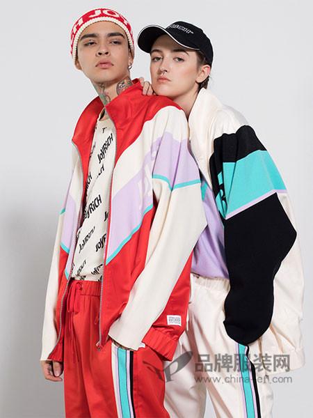 Joyrich休闲2018春美式叛逆撞色logo提花复古绸面外套
