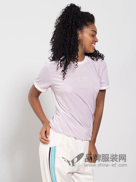 Joyrich休闲2018春女款美式叛逆系列复古丝绒修身短袖T恤