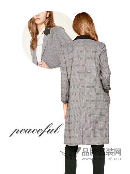 CASS女装欧式复古格子中长外套