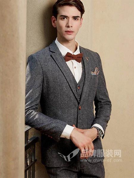 V·尚2000男装羊毛人字纹修身韩版英伦西装大套装