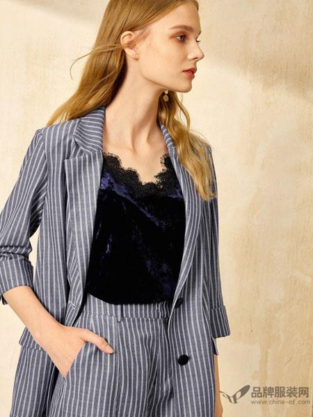 布莎卡女装2018春七分袖修身西服气质薄条纹短小西装外套