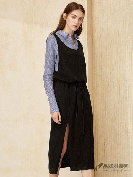 布莎卡女装2018春韩版修身黑色背带裙中长款针织连衣裙