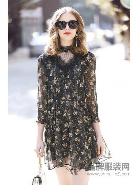诺艾琪女装2018春蕾丝边喇叭袖印花A字裙雪纺连衣裙