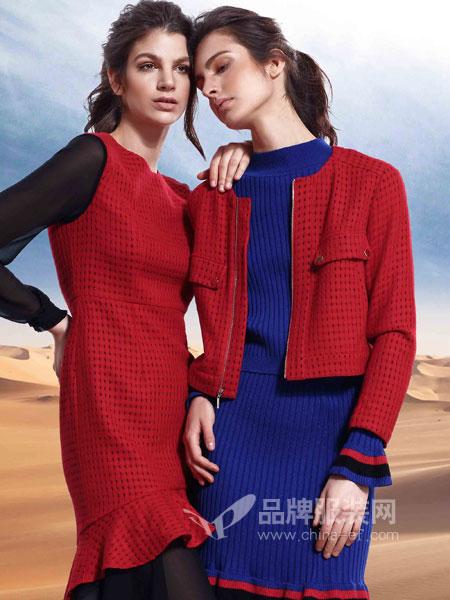 杜埃女装感蕾丝鱼尾包臀裙红色连衣裙