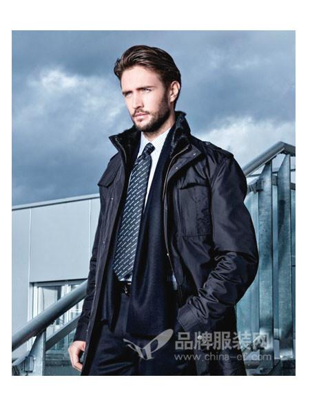 LOUIS LONG路易诗兰男装时尚商务保暖毛领中长外套