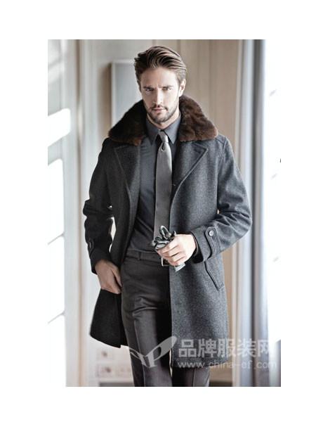 LOUIS LONG路易诗兰男装加绒加厚呢子大衣男外套中长款可拆卸毛领妮子风衣