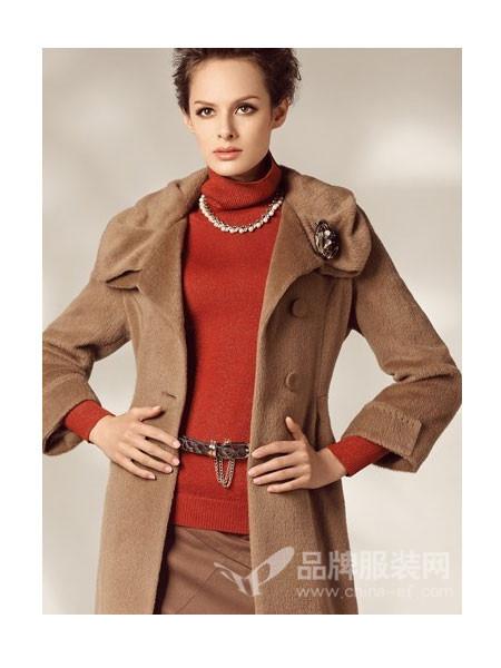 红袖坊 - red house女装呢外套修身显瘦翻领中长款呢子大衣