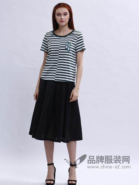 兰黛 赫本女装时尚条纹百搭短袖上衣