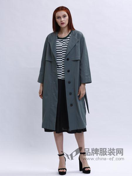 兰黛 赫本女装简约休闲中长款纯色系带风衣外套